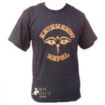 Embroidery Eyes of Peace KTM Nepal T-Shirt SKU-7831