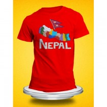 Embroidery Nepal Map with Flag T-Shirt SKU-7832
