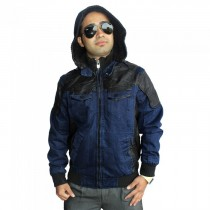 Blue Jeans And Leather Full Sleeve Stylish Mens Jacket SKU-KFJ02 Size L- 42 , XL- 44