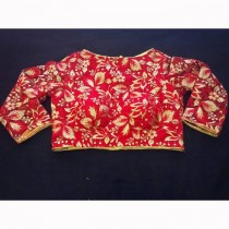Embroidery Net Blouse(Red) SKU-19559