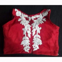 Resham Work Net Blouse(Red) SKU-19557