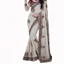 Off White Embroided Saree With Blouse SKU-19512