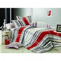 Gray And Red Stripes Authentic Korean King Size Bedsheet with Pillows Cover SKU-15719
