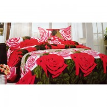Pink and Grey Multicoloured 3D Bed Sheet With Pillow Cover SKU-15710