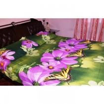 Green With Butterfly 3D bedsheet with pillow cover SKU-15703
