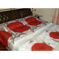 Gray With Red Flower 3D Bed Sheet With Pillow Cover SKU-15708