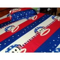 Paul Frank Blue 3D Bed Sheet With Pillow Cover SKU-15712