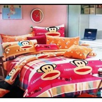 Paul Frank Orange 3D Bed Sheet With Pillow Cover SKU-15713