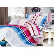 Blue And Pink Stripe Korean King Size Bedsheet with Pillows Cover SKU-15715