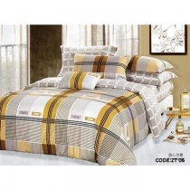 Checks Authentic Korean King Size Bedsheet with Pillows Cover SKU-15717